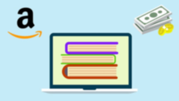 Amazon logo with illustrated books and money shown with a computer as an example of making money online
