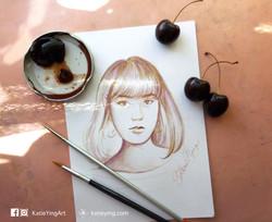 Cherry juice painting