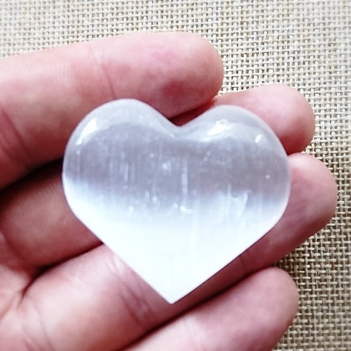 Hand Carved Selenite Heart