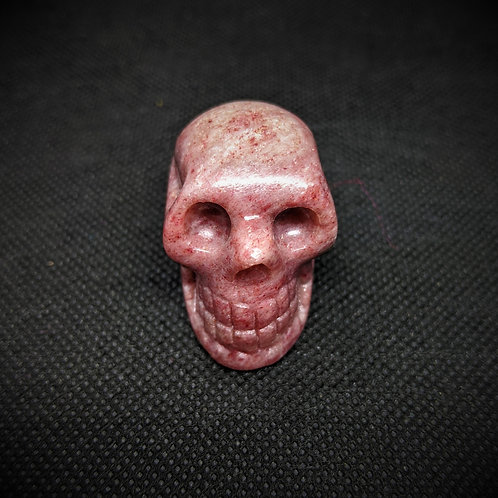 Thulite Crystal Skull, Rare - Hand Carved