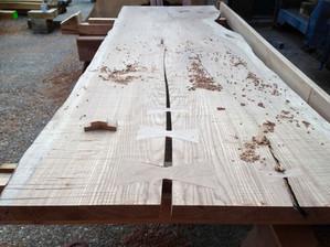 Bow tied and levelled elm slab, walnut i