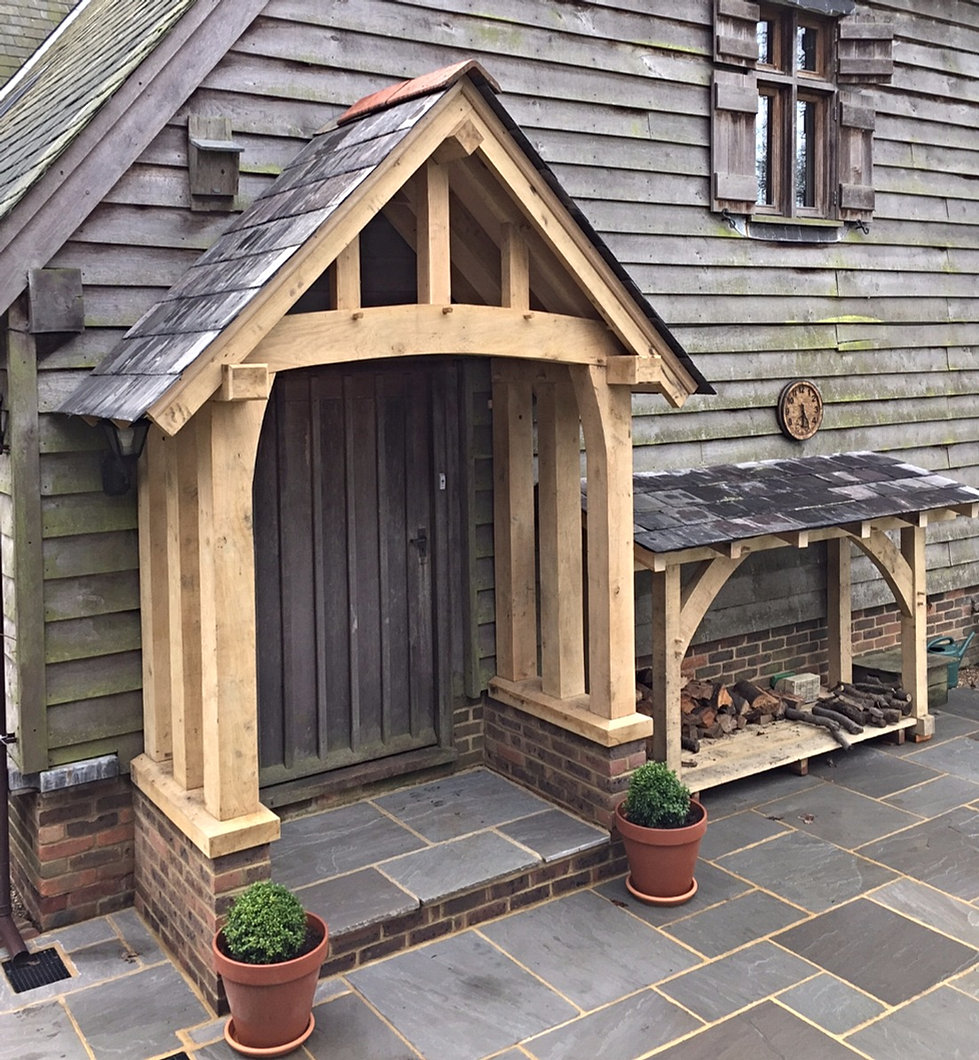 Oak porches rustic furniture mirrors sheds cheeseboards for Rustic shed with porch