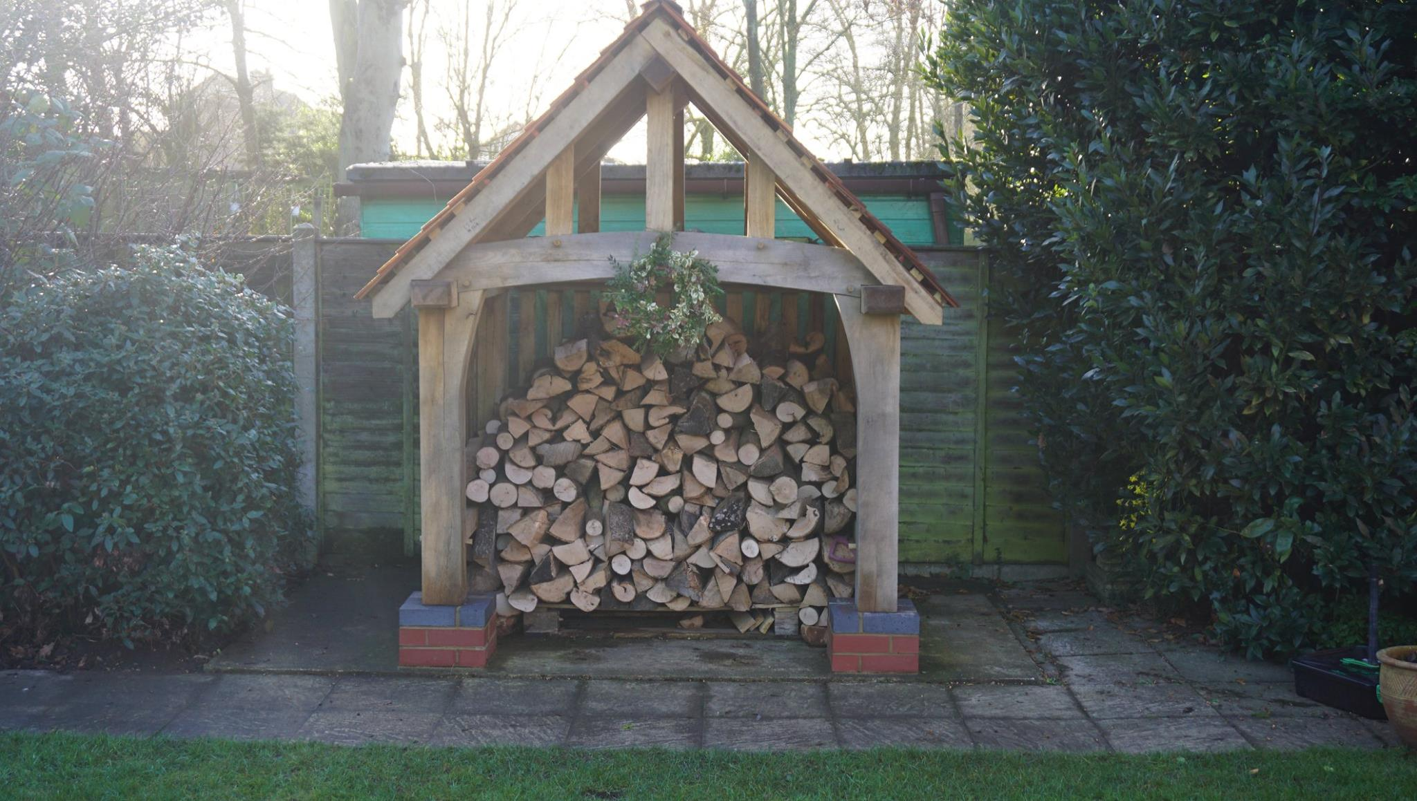 Oak log store for Christmas