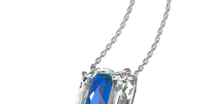 Swarovski smykke. Octagon cut crystal, Blue