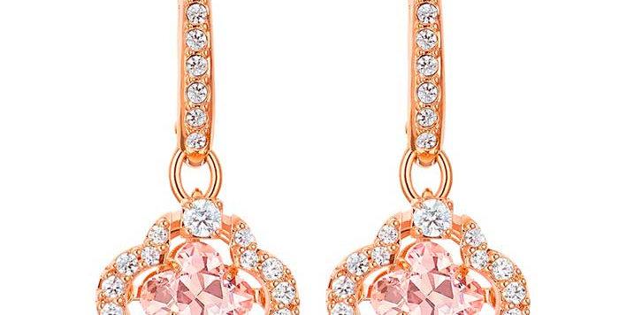 Swarovski Sparkling Dance Clover Pierced Earrings, Pink, Rose-gold tone plated øredobbe