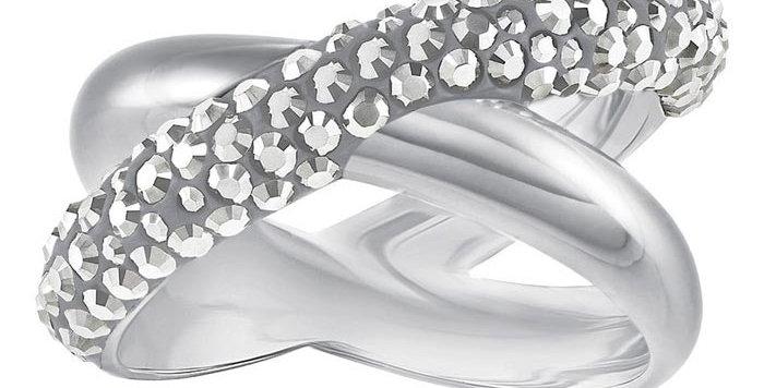 Swarovski Crystaldust Cross Ring, Gray, Palladium plating