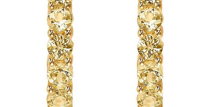Swarovski øredobber Vittore Hoop, gul, Rhodium Plated