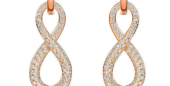 Swarovski Infinity Pierced Earrings, White, Rose-gold tone plated øredobber