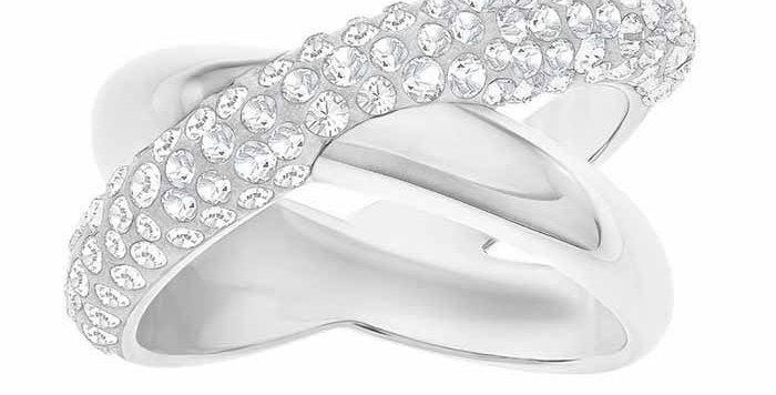 Swarovski Crystaldust Cross Ring, Gray str 58