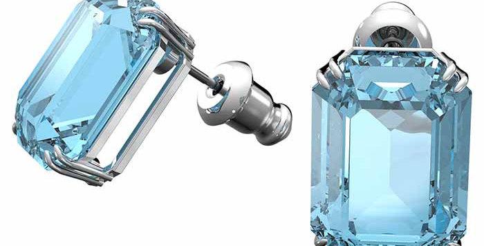 Swarovski øredobber Millenia, Octagon cut crystals, Blue