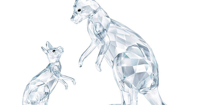 Swarovski figurer Kangaroo Mother with Baby