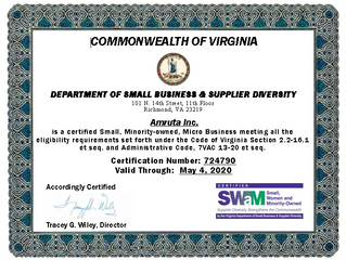 Amruta Inc is a Certified Small, Minority-owned, Micro Business!