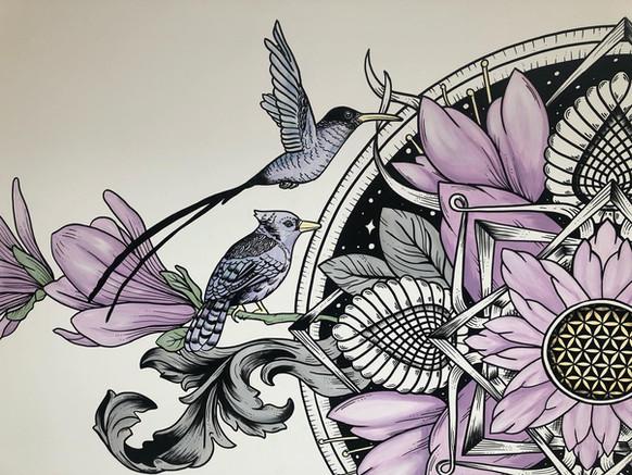 the aviary mural art sacred geometry343