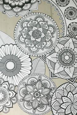 hand drawn wallpaper interior
