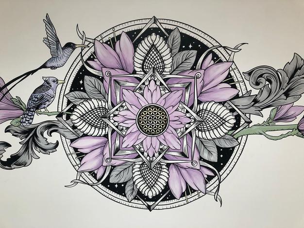 the aviary mural art sacred geometry355