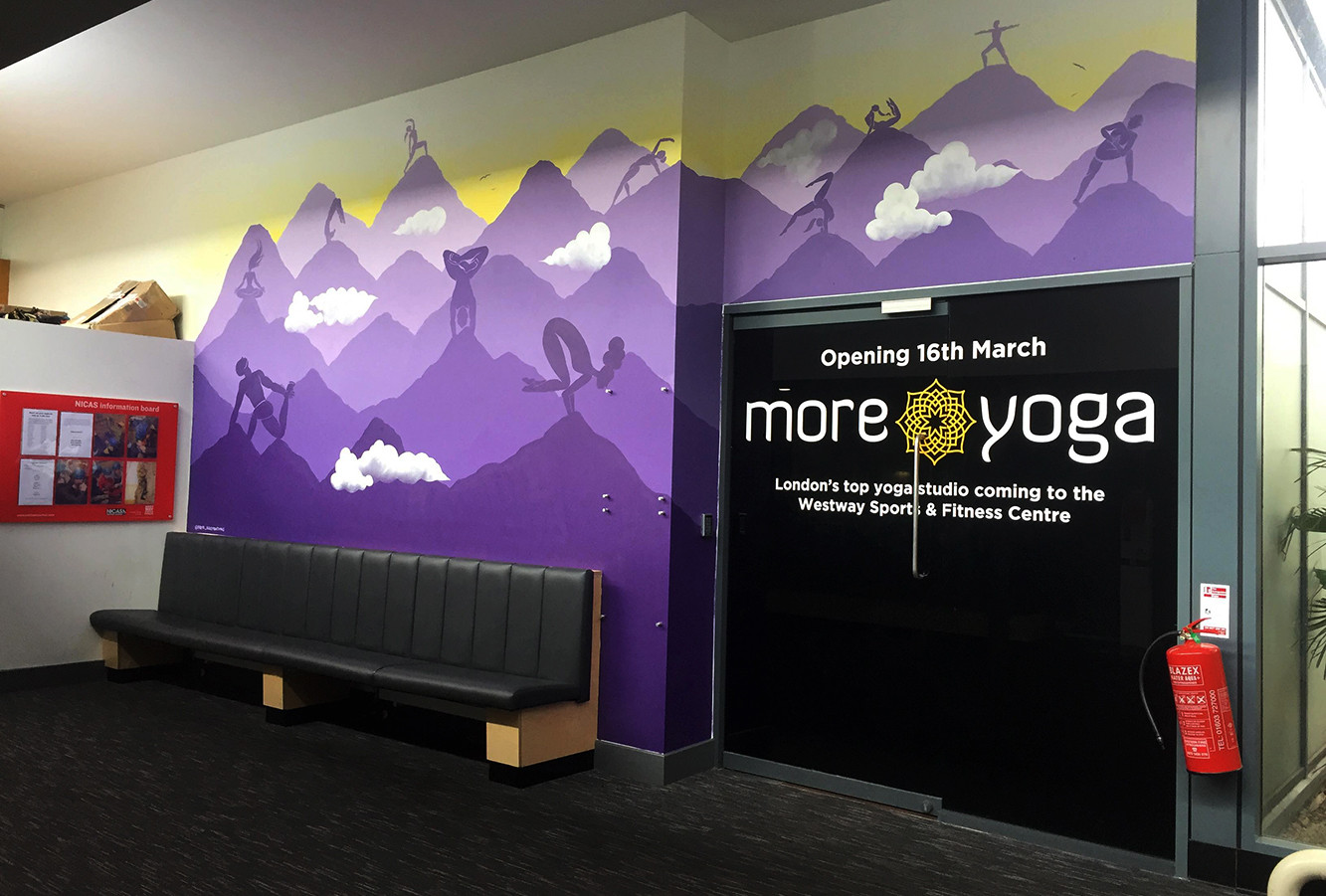 Climbing yoga studio mural artwork