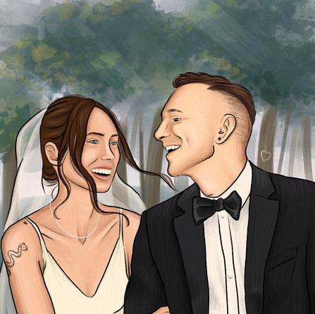 Digital Illustration wed couple - commission project