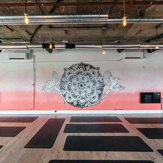 sunset mandala mural artist