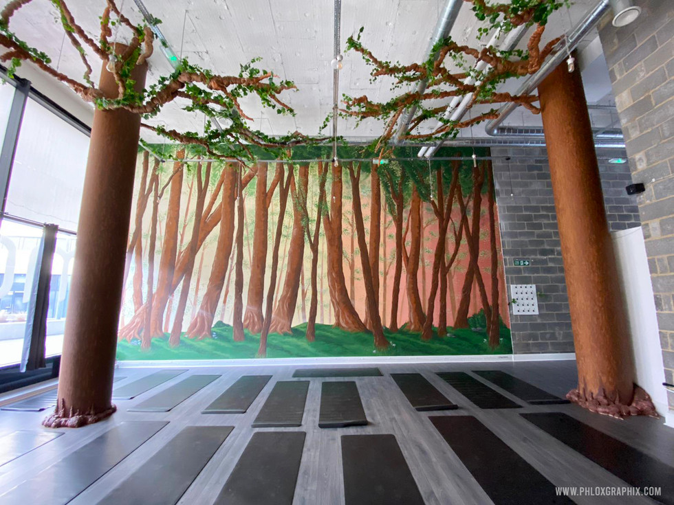 Forest mural and tree installations by phloxgraphix 9