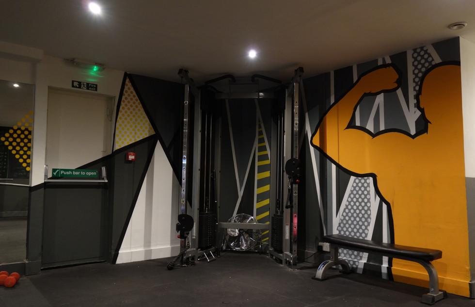 pop art style mural gym