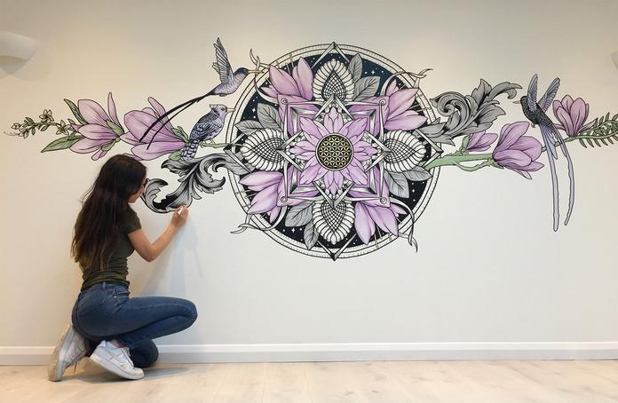 the aviary mural art sacred geometry4