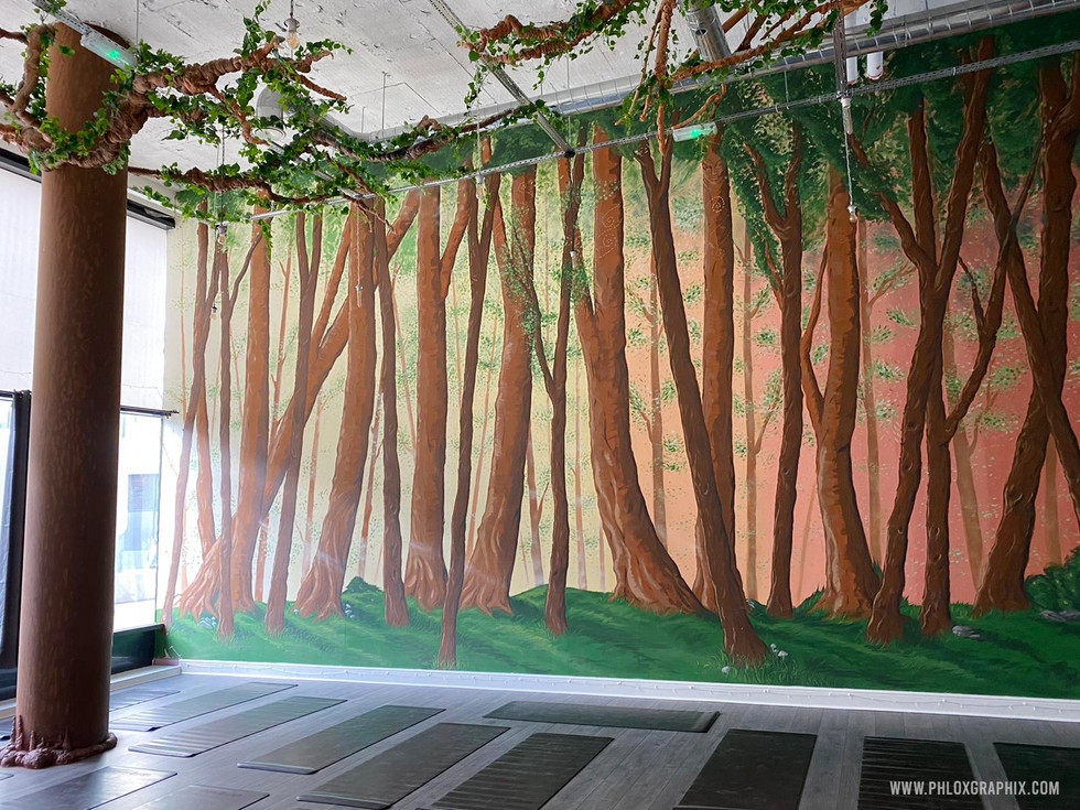 Forest mural and tree installations by phloxgraphix 8