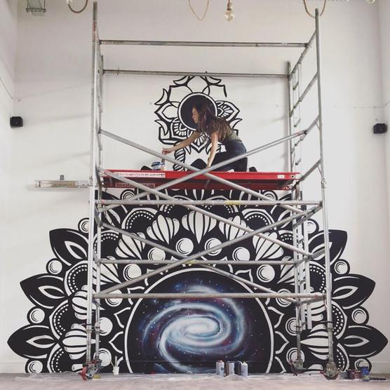 Mandala galaxy mural painting psy gate 5