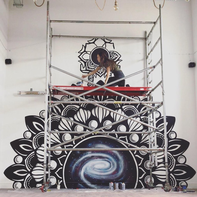 Mandala galaxy mural painting psy gate 5