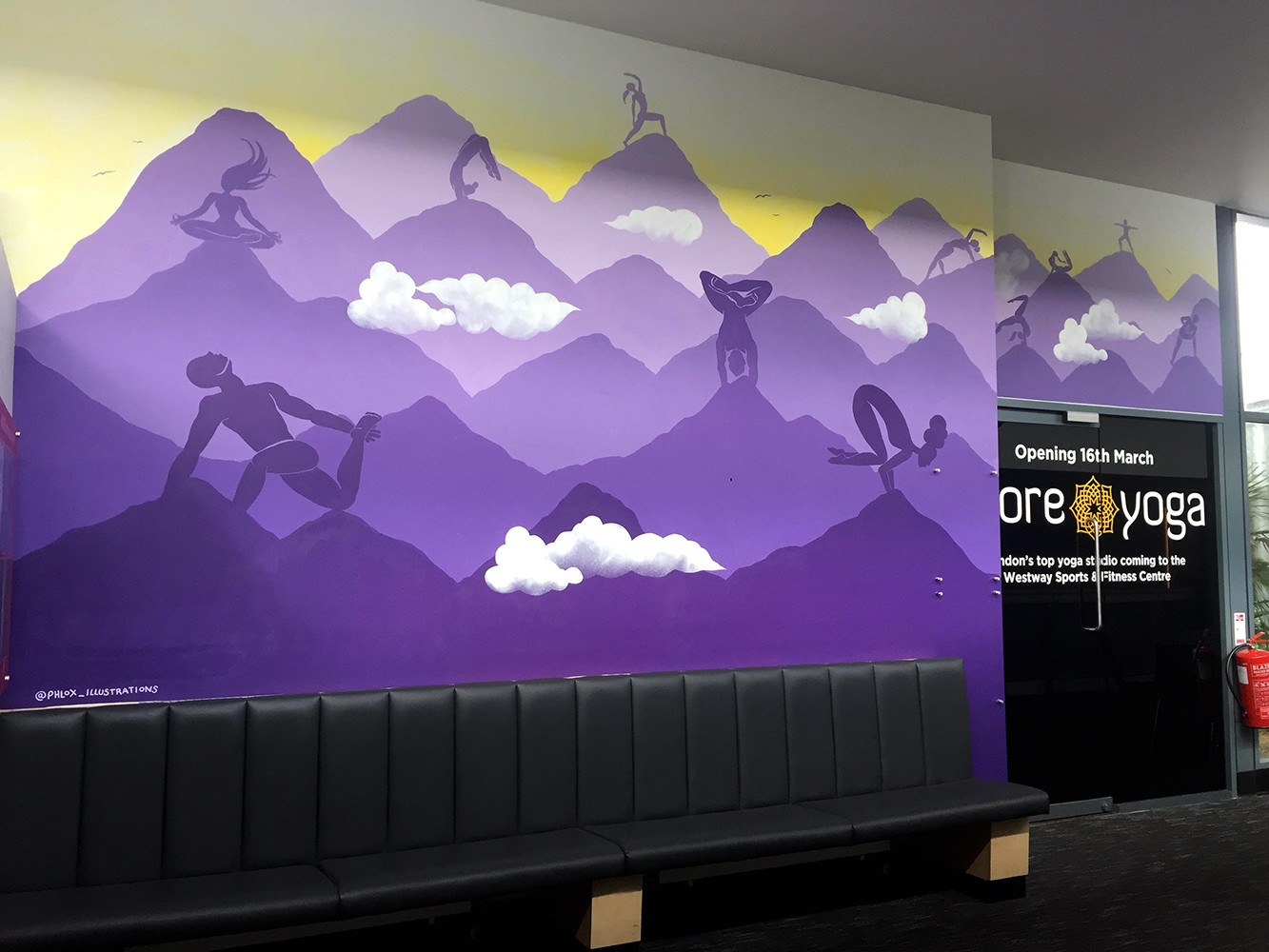 Climbing yoga studio murals