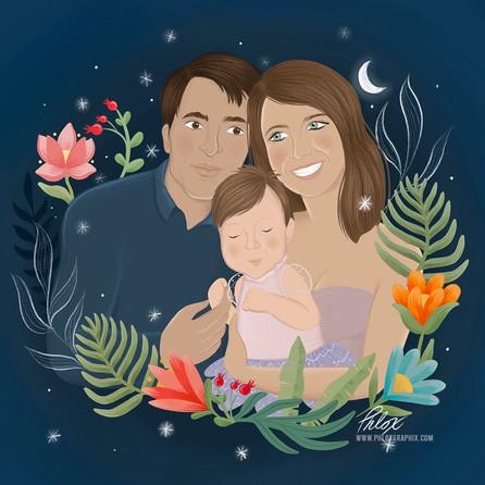 Family portrait illustration in procreate