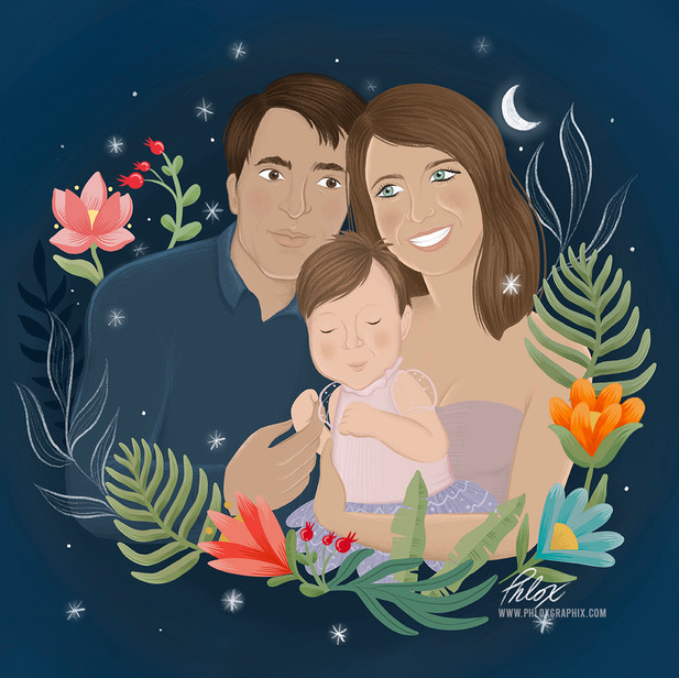 Family portrait illustration in procreate