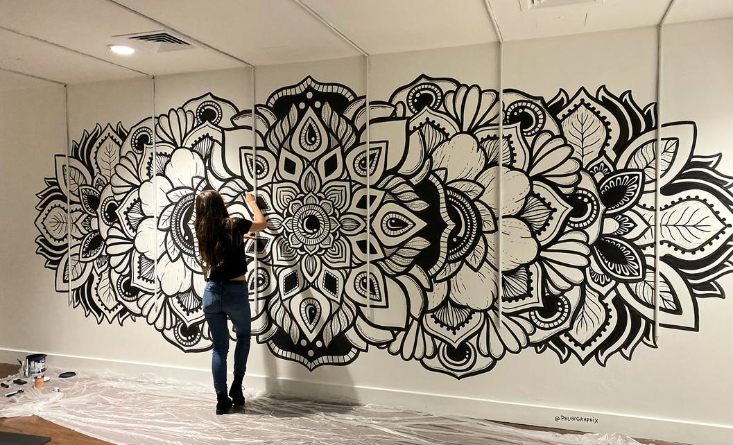 illuminated LED mandala mural painting phloxgraphix