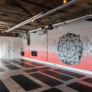 sunset mandala mural art