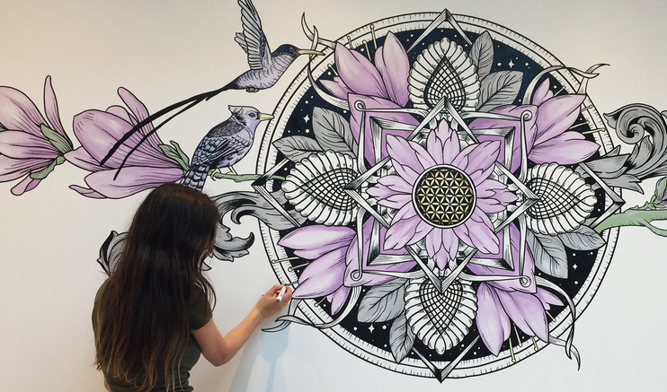 the aviary mural art sacred geometry3