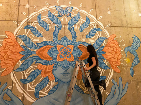 'The Blooming Mind' mural painting