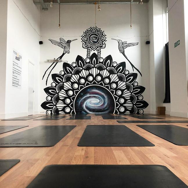 Mandala galaxy mural painting psy gate 9