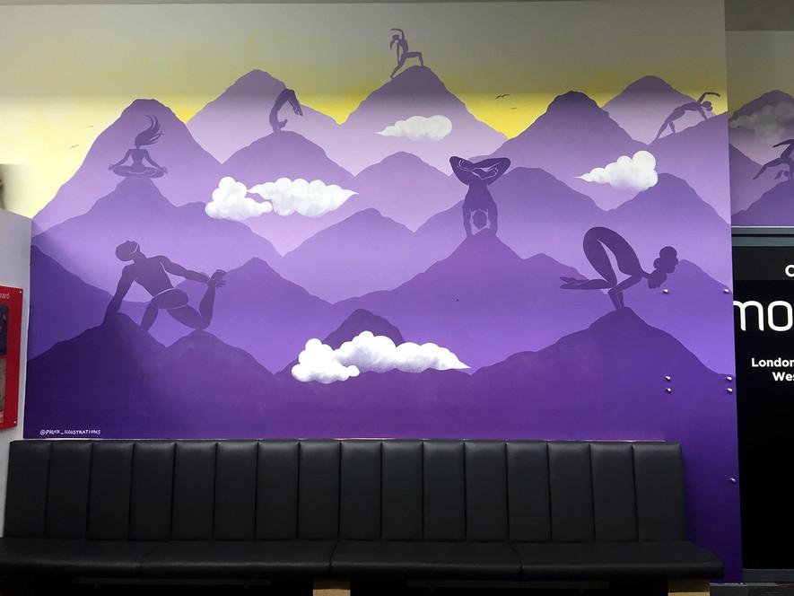 Climbing yoga studio mural