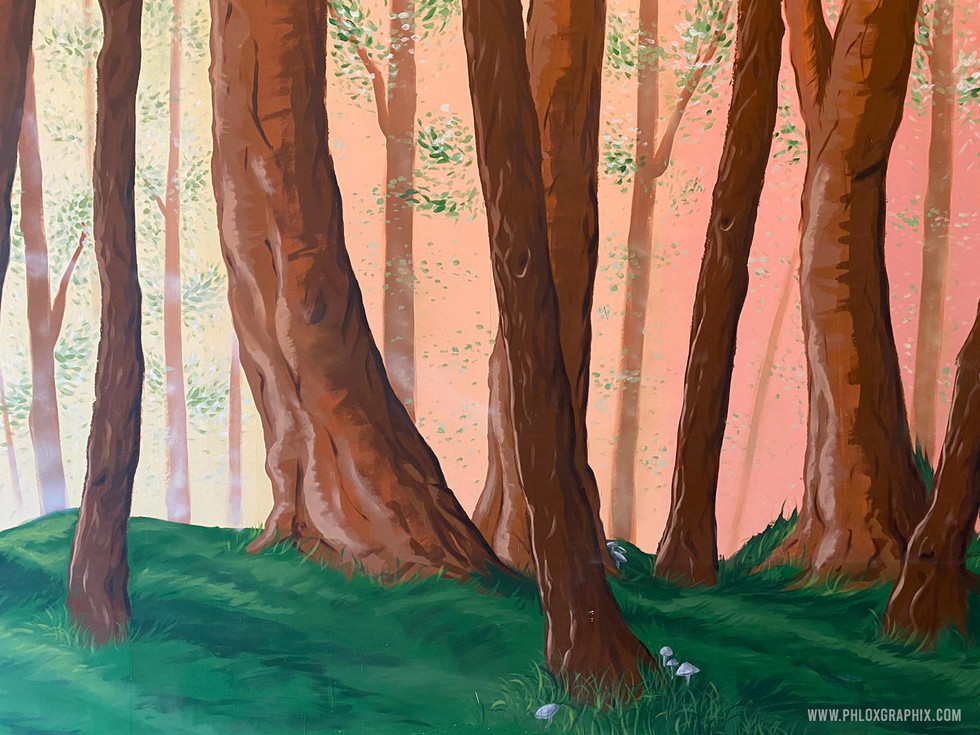 Forest mural and tree installations by phloxgraphix 5