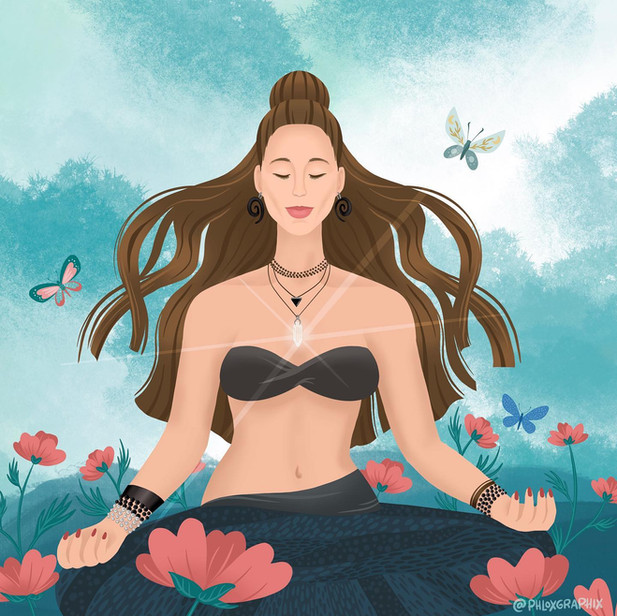 Meditating girl illustration