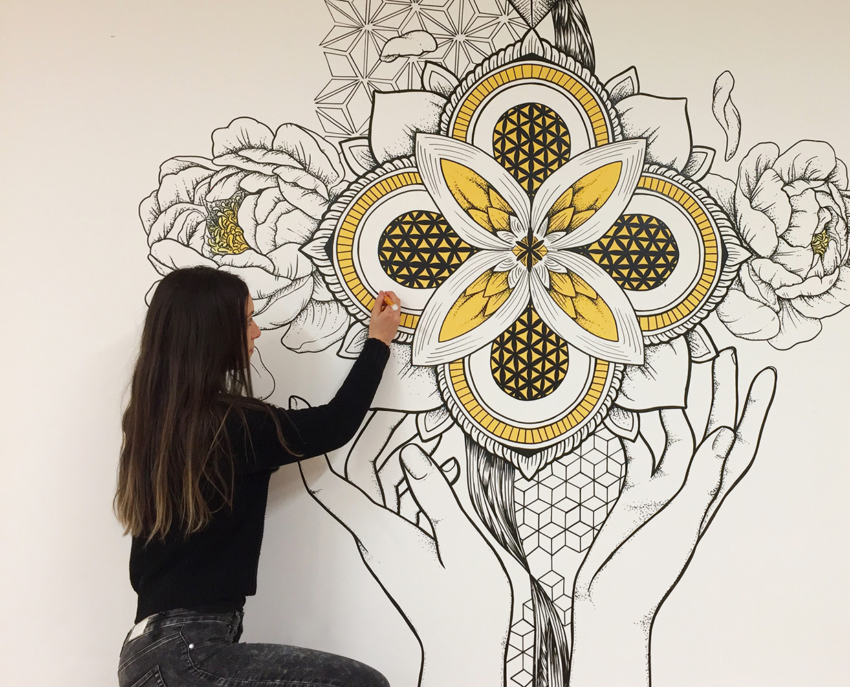 Sacred geometry style mural