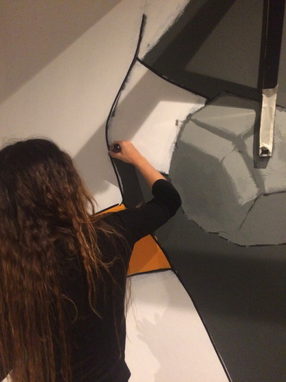 pop art style mural artwork progress pic