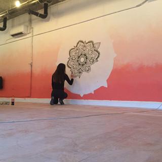 sunset mandala mural art 5