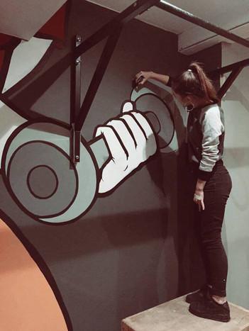 pop art style mural progress