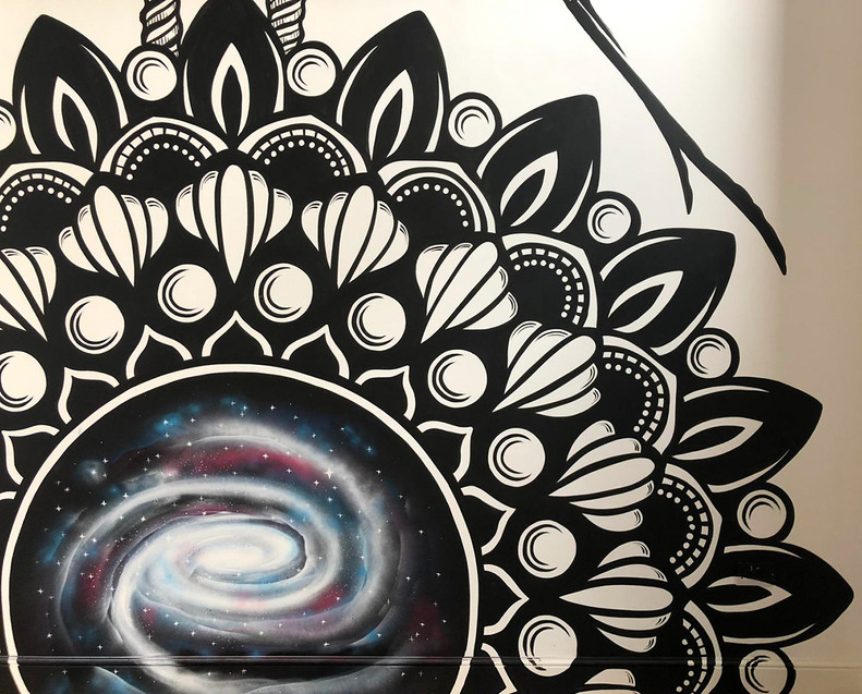 Mandala galaxy mural painting psy gate 6