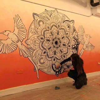sunset mandala mural art 3