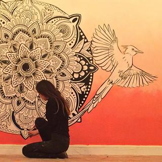 sunset mandala mural art 4