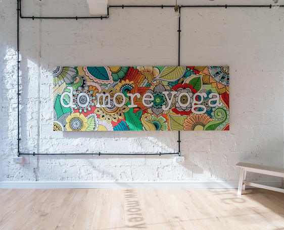 more yoga hand painted sign installed