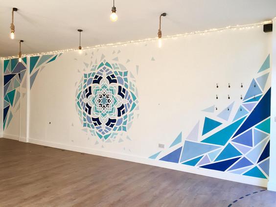 shattered mandala mural abstract art