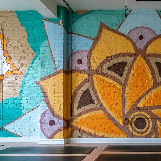 mandala mural yoga studio