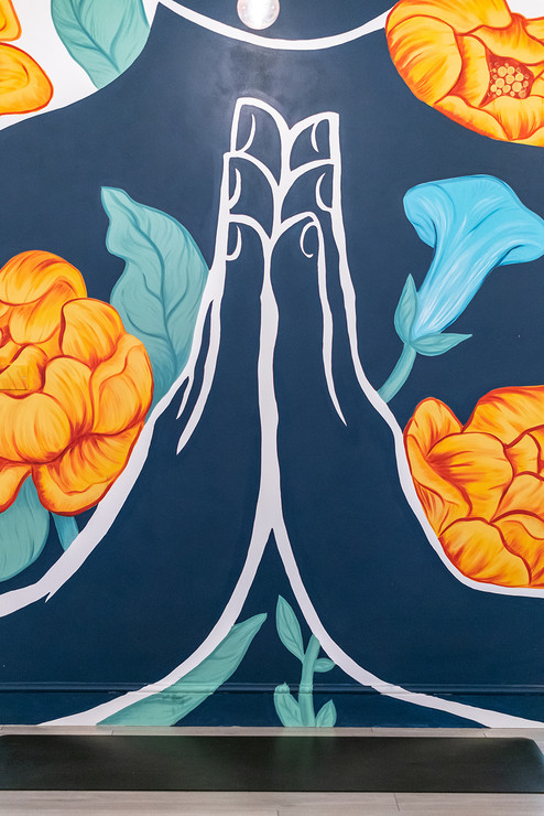 namaste mural floral style